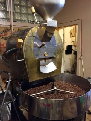 This is the roaster machine! The beans we see are actually cooling.